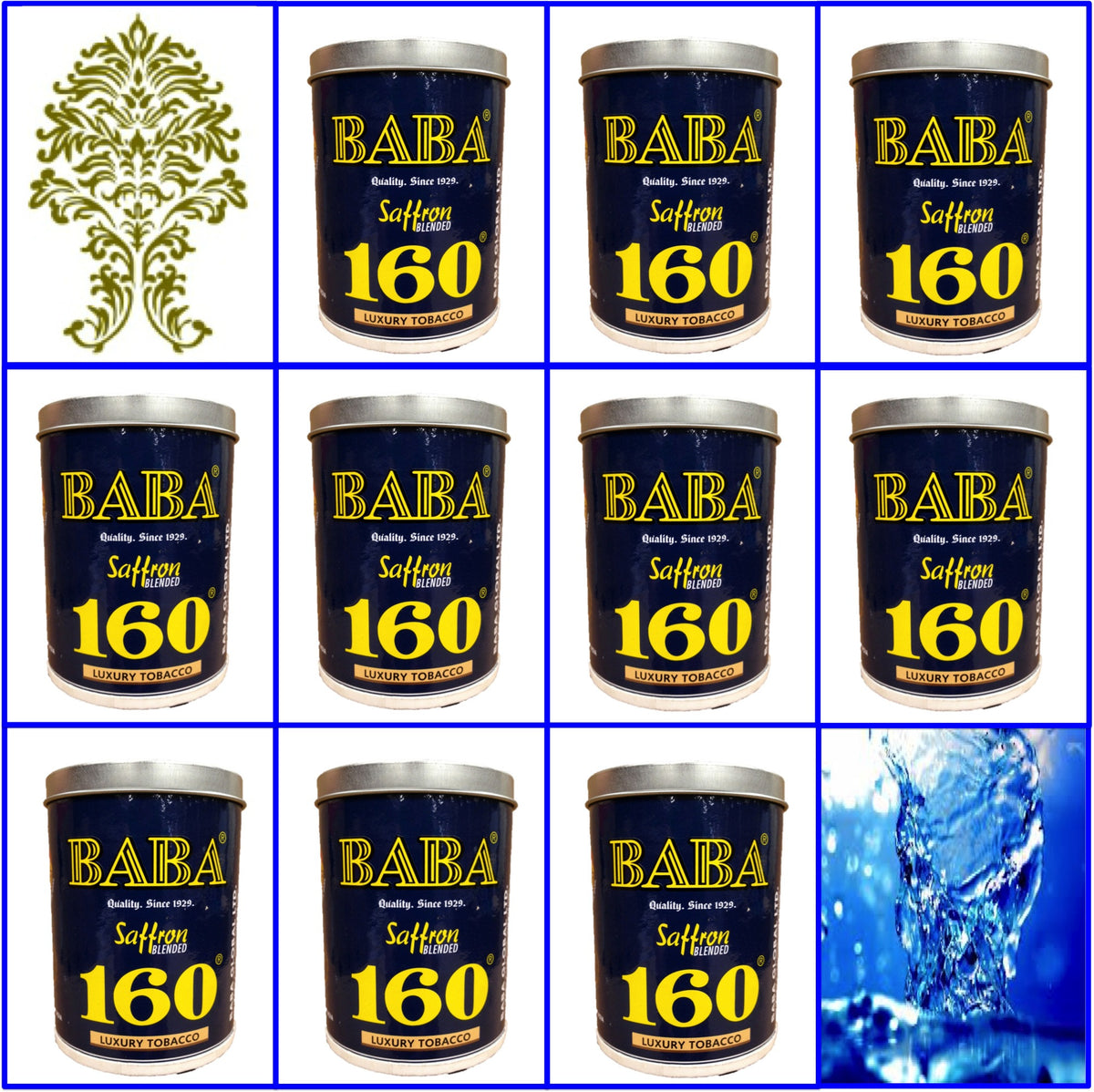10 Cans. Baba 160 Luxury Tobacco. 50g Ea. July 2018