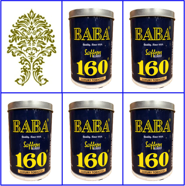 5 Cans Baba 160 Luxury Tobacco 50g Ea