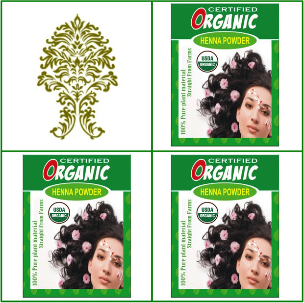 3 Boxes. USDA Certified Organic Henna. Hair Color. 100g Ea.