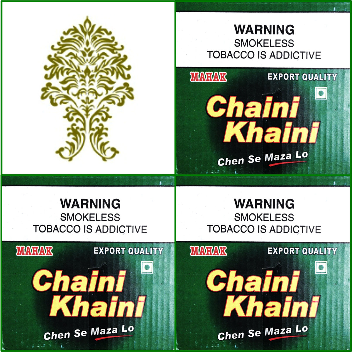 3 Boxes Chaini Khaini Best Indian Tobacco 20 x 4.5g Each October 2018