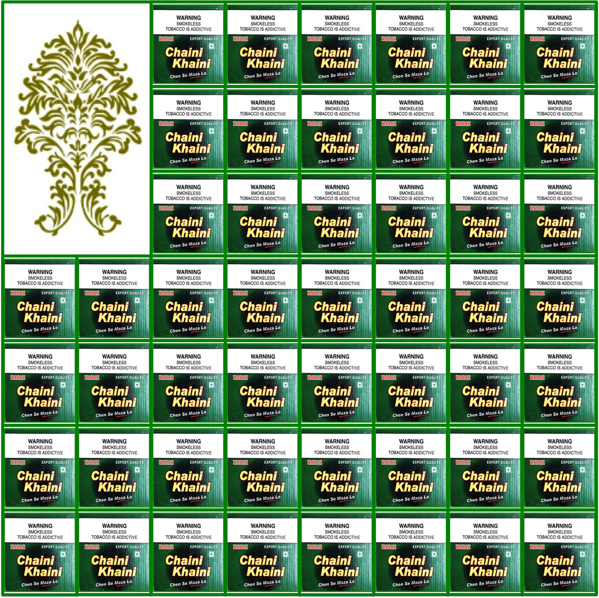 50 Boxes. Chaini Khaini. Best Indian Tobacco. 20 x 3.6g Ea. September 2017