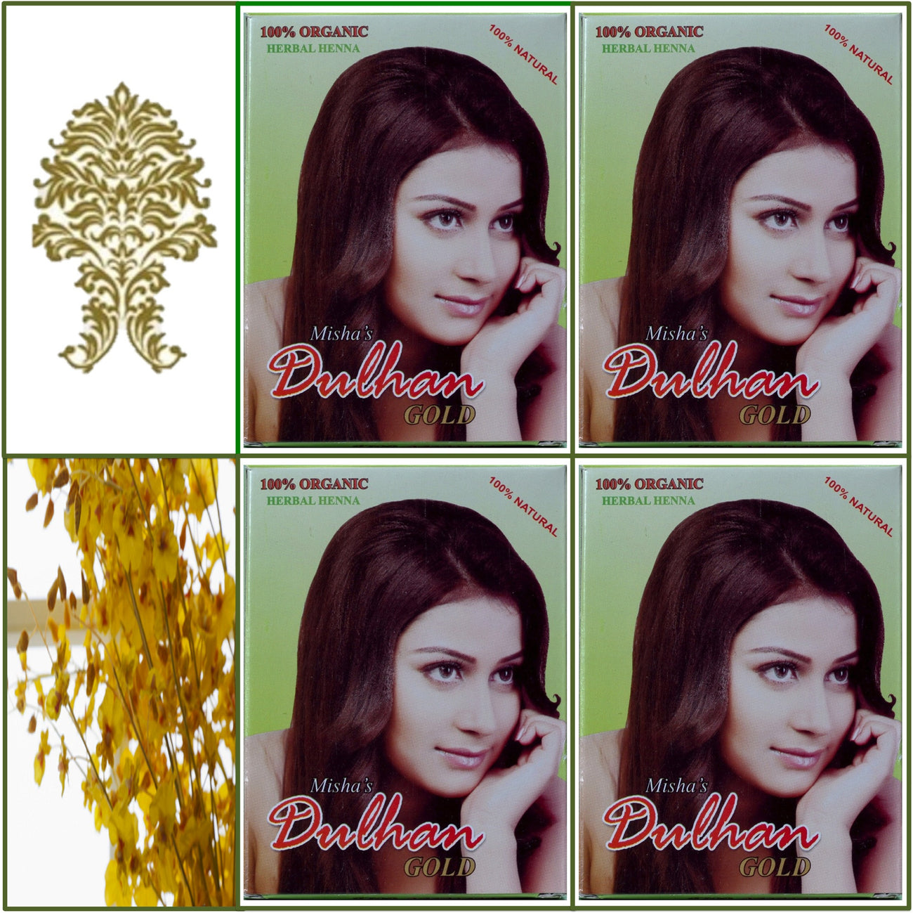 4 Boxes. Pure Herbal Henna. Golden Hair Color. 100g Ea