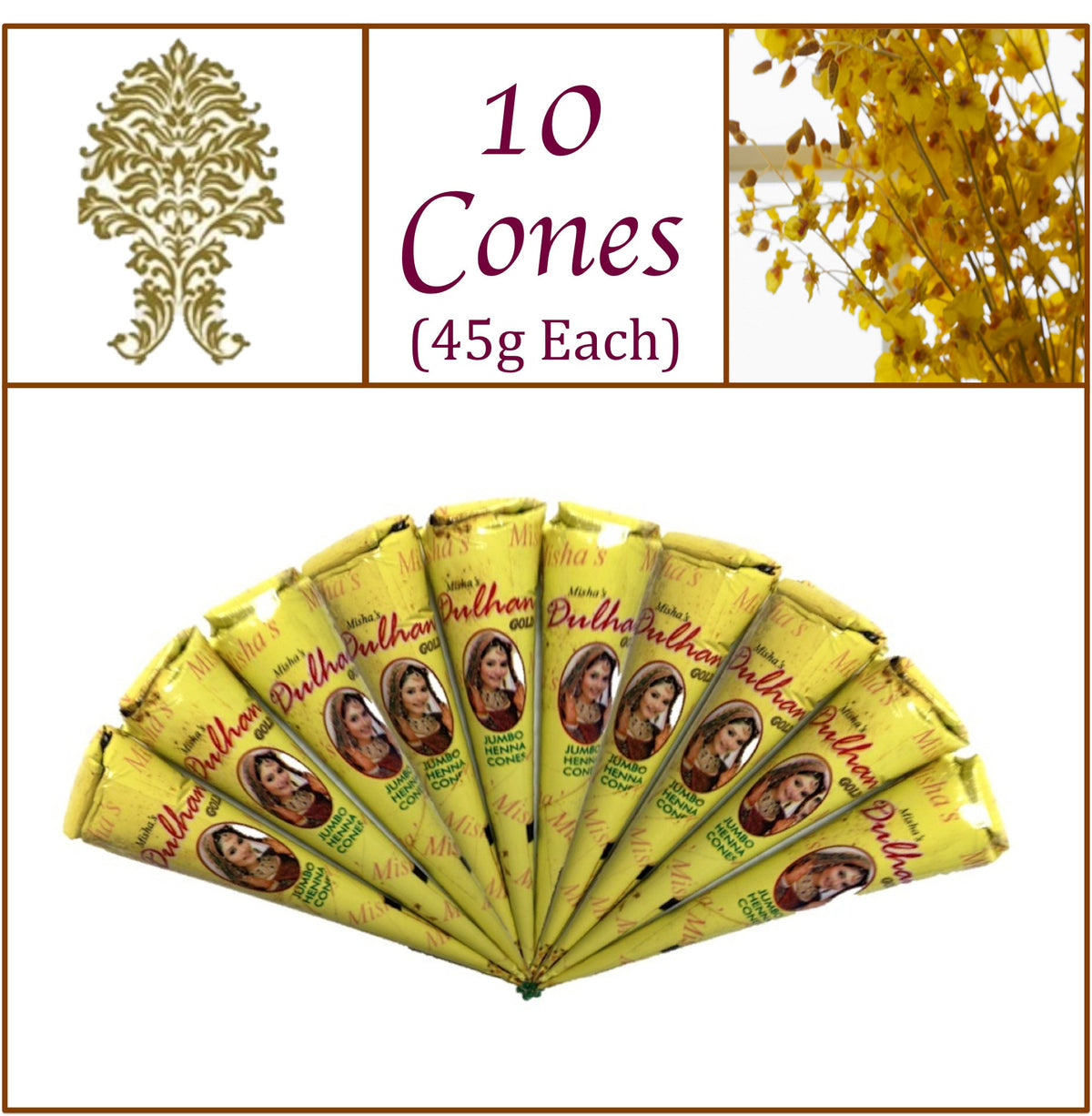 10 Jumbo Cones Dulhan Gold Henna Paste No Chemicals No PPD 45g Each
