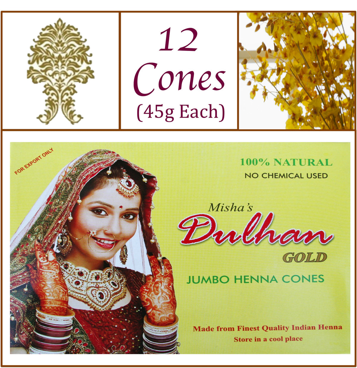 ONE Box. Dulhan Gold Henna Paste. 12 Jumbo Cones, 45g Ea.
