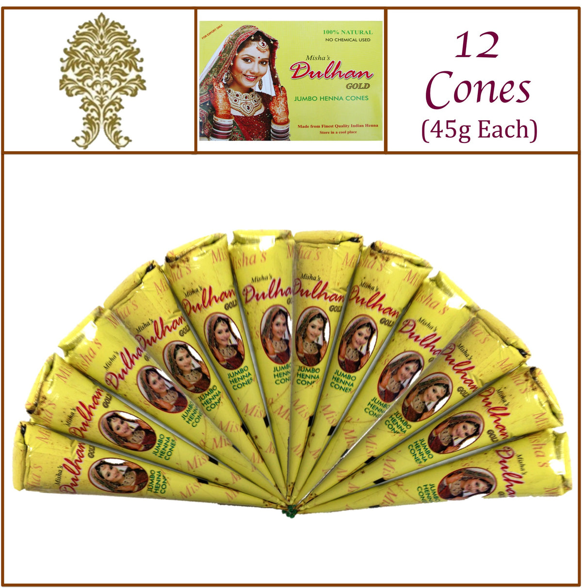 12 Jumbo Cones Dulhan Gold Henna Paste No Chemicals No PPD 45g Each