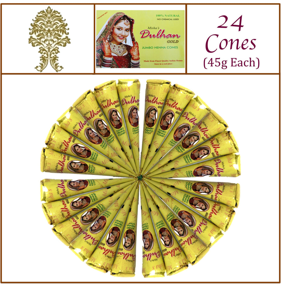 24 Jumbo Cones. Dulhan Gold Henna Paste. No Chemicals No PPD. 45g Ea.