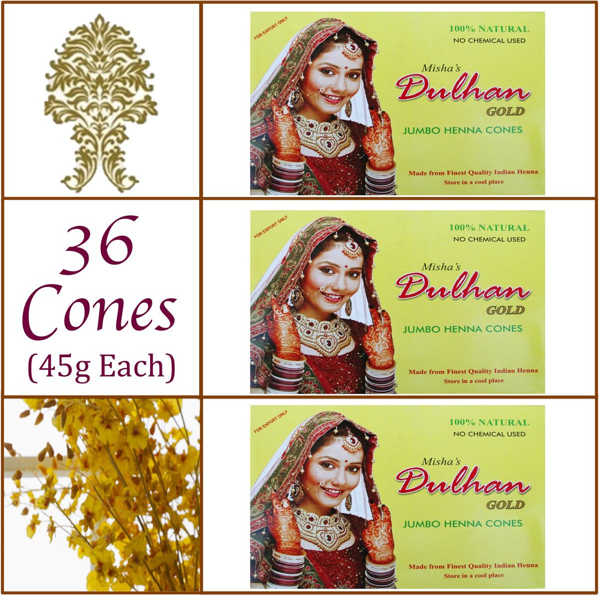 3 Boxes. Dulhan Gold Henna Paste. 36 Jumbo Cones, 45g Ea.