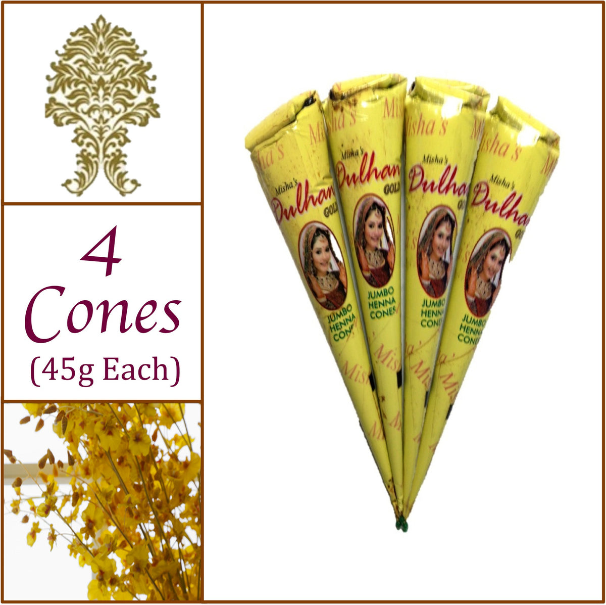 4 Jumbo Cones. Dulhan Gold Henna Paste. No Chemicals No PPD. 45g Ea.