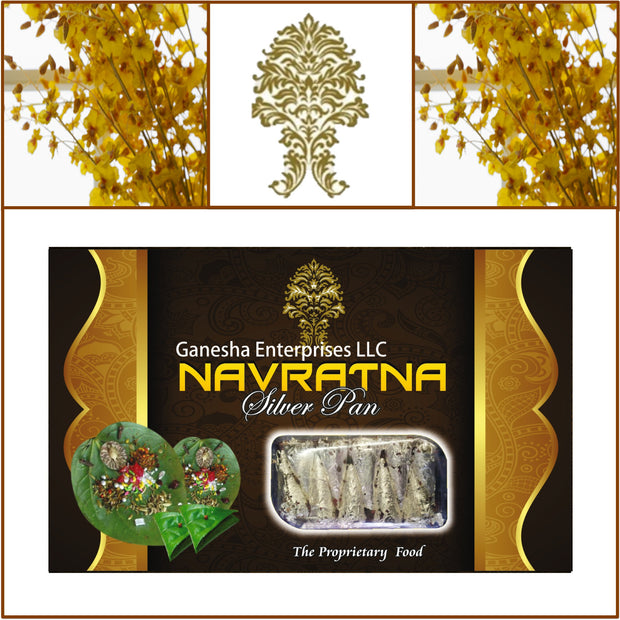 ONE Box. Navratna Silver Pan (Paan). 10 Pieces Each.