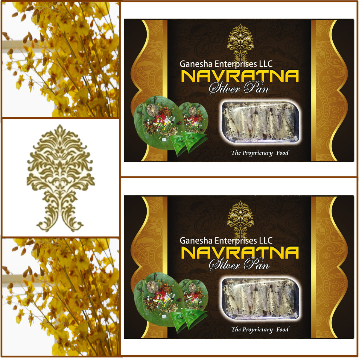 2 Boxes Navratna Silver Pan (Paan) 10 Pieces Each - Total 20 Pieces