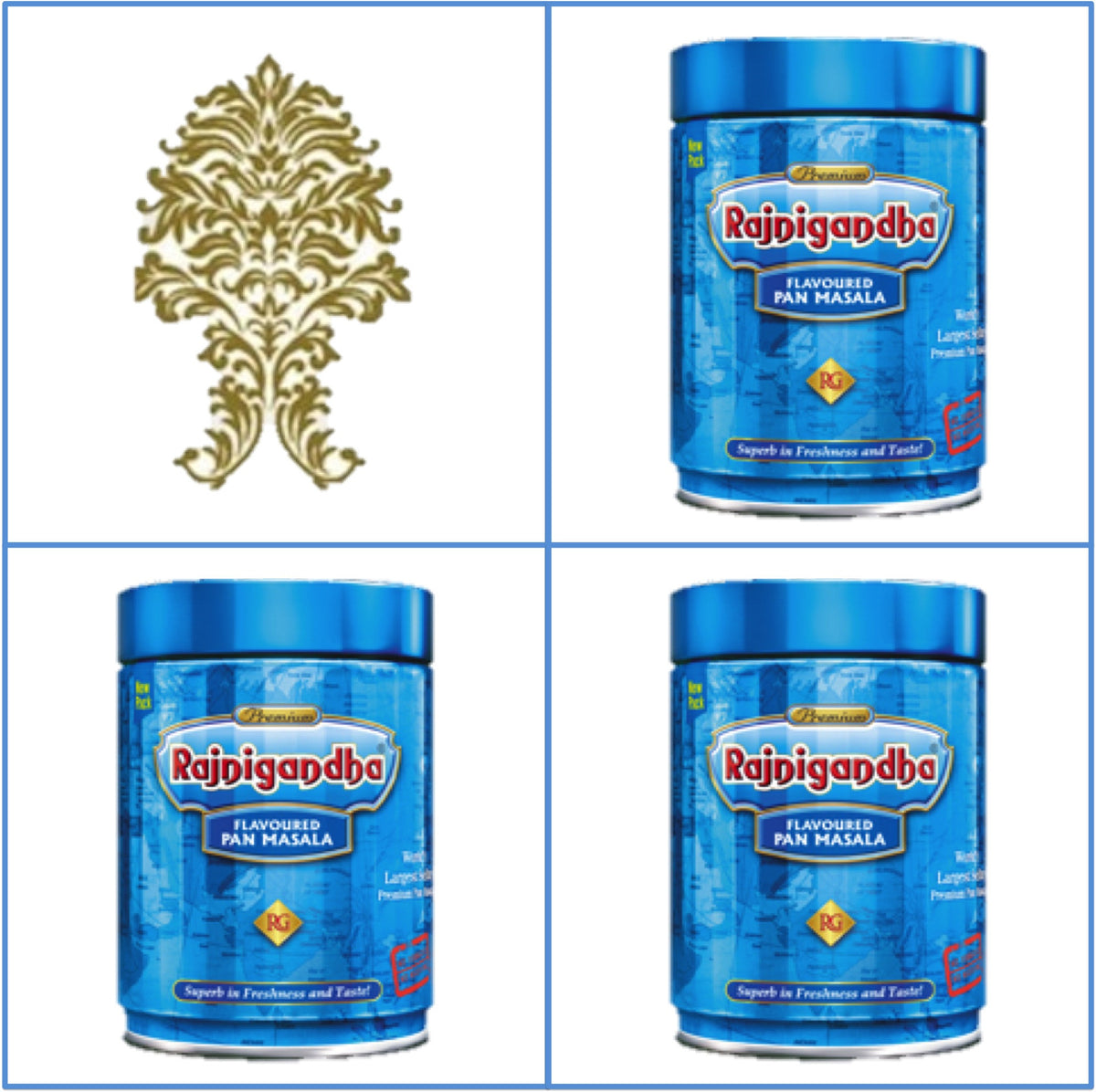 Three (3) Cans 100g Rajnigandha Pan Masala Export Quality August 2020