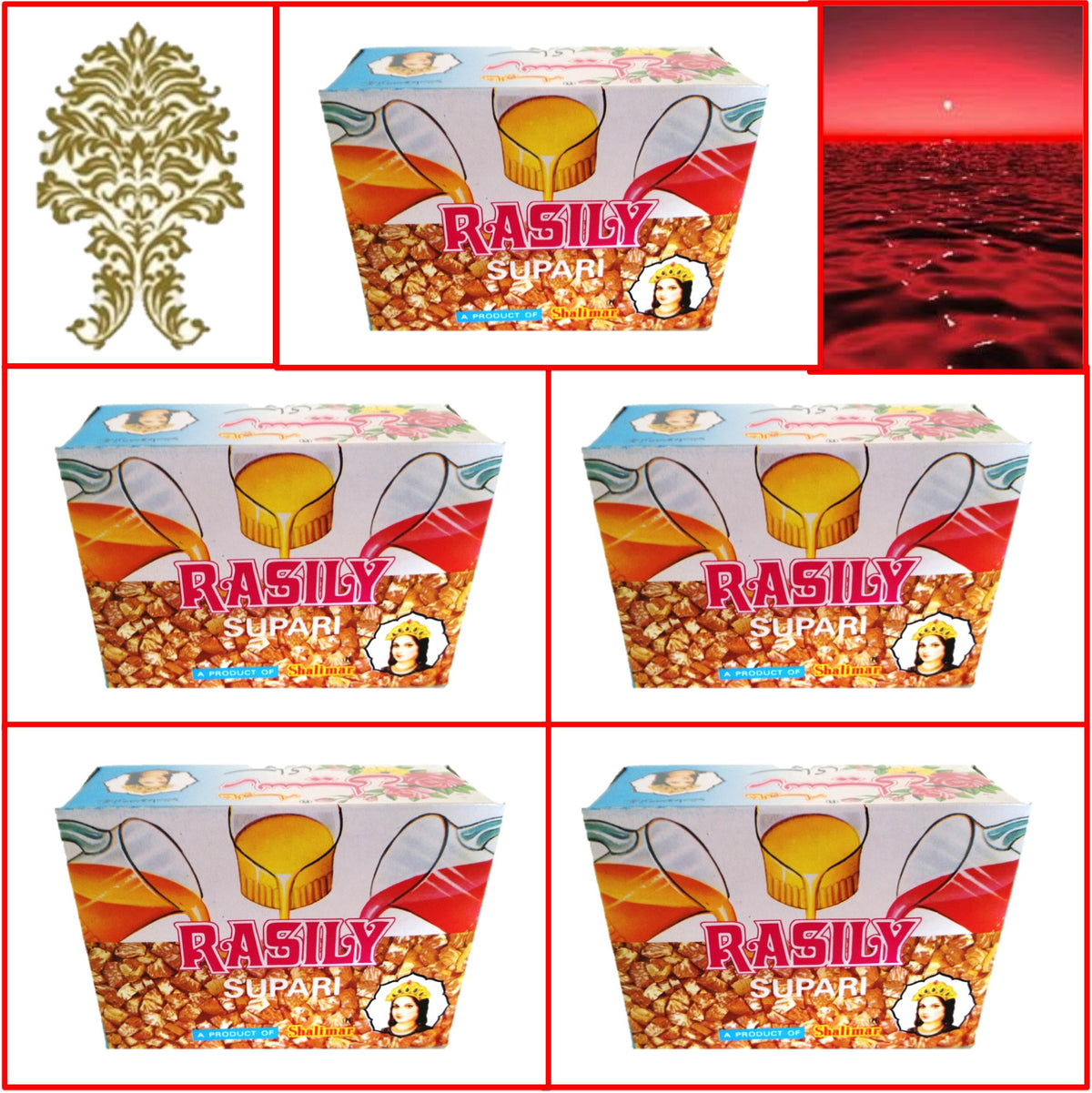 5 Packs. Shalimar Rasily Supari Pack. 48 pouches 96g. Export Quality!!