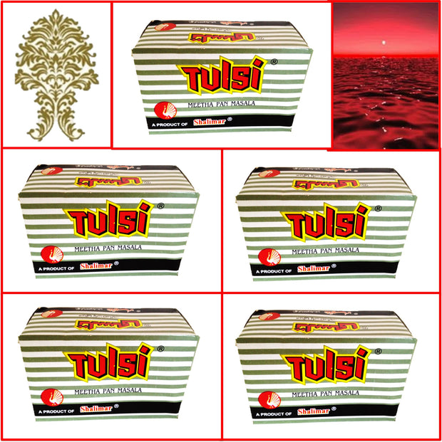 5 Packs. Shalimar Tulsi Meetha Pan Masala. 24 pouches 95g. Fresh!!