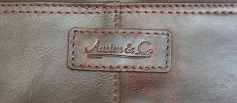 Tan Brown Leather Briefcase Logo