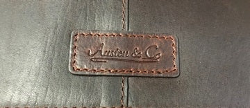 Tan Brown Leather Suit Carrier Logo