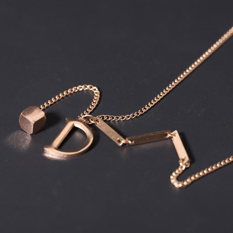 Letter Necklace D, Light Luxury Simple Style, Non-fading Clavicle Chain