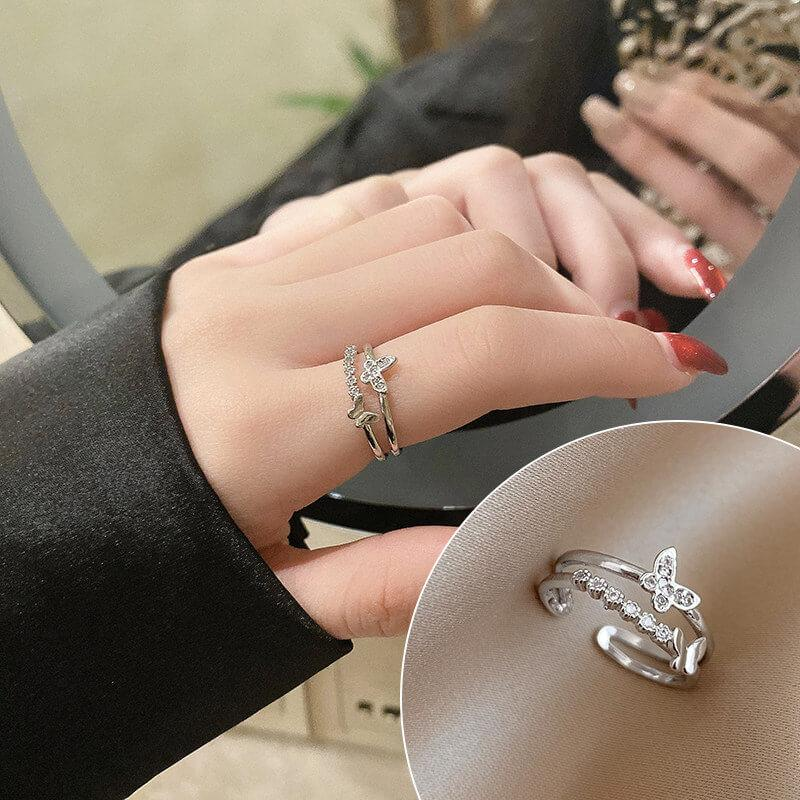 Fashion Ring butterfly net red pearl ring
