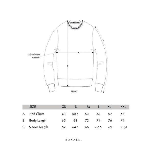 BASALE SWEATER SIZECHART