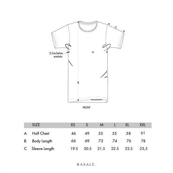 BASALE T-SHIRT SIZECHART
