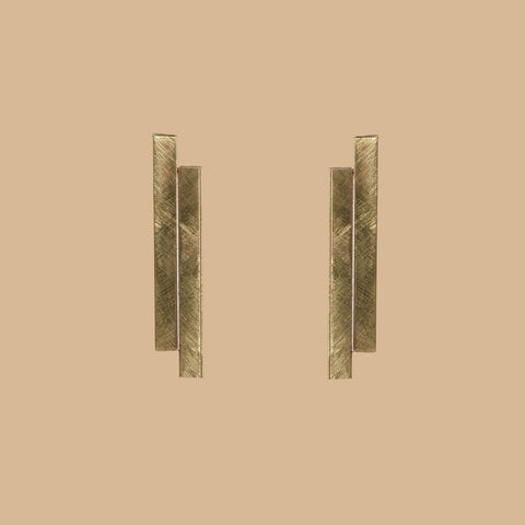 Geo tube gold earrings