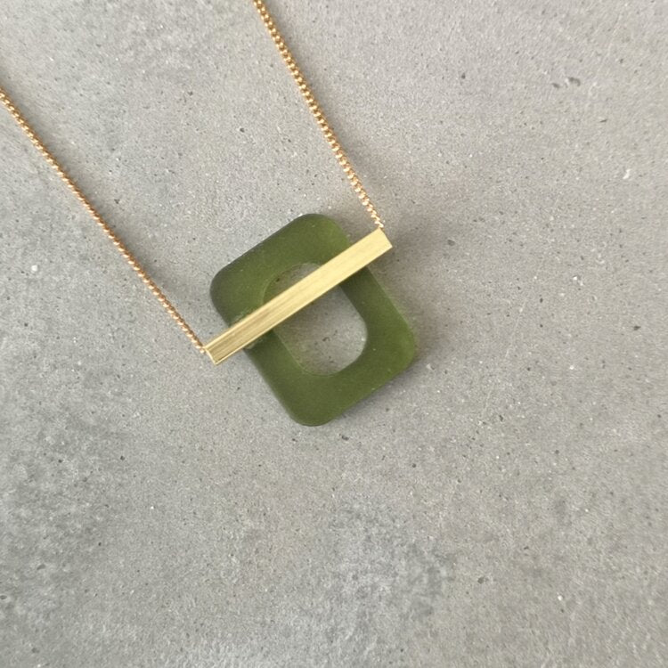 Deco Bar Necklace - Green