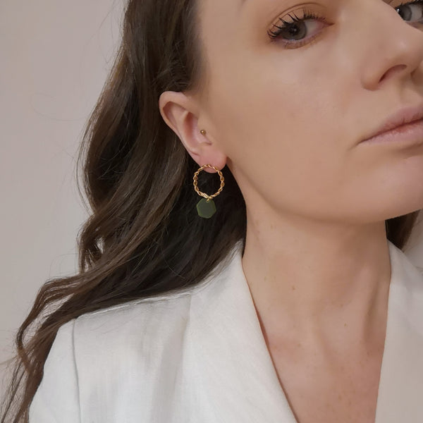 Gold and green hex earrings model