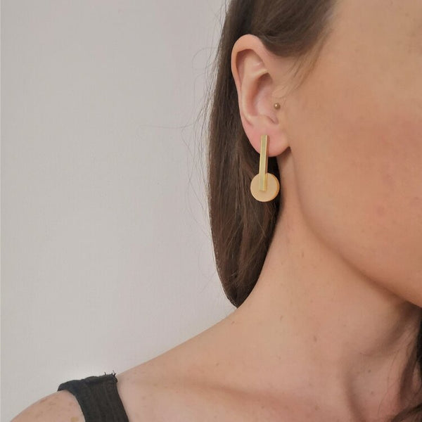 Acrylic Drop Earrings Gold - 18 carat gold plated handmade earrings on model