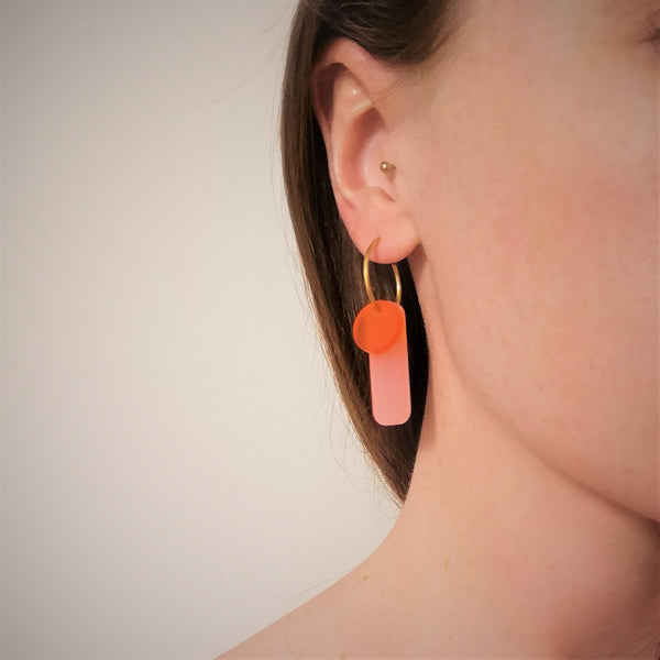 Small Hoop Earrings pink and orange