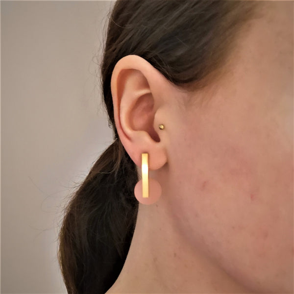Acrylic Drop Earrings - Pink