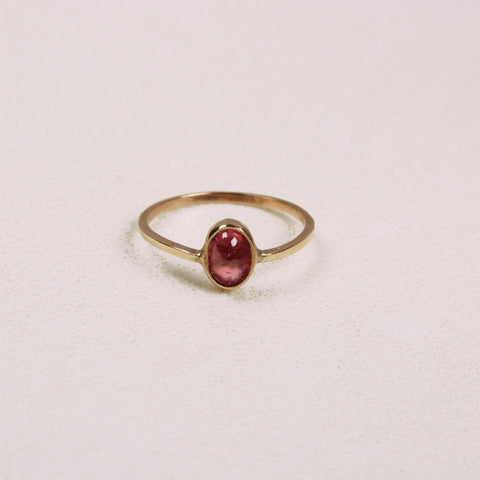 Solid Gold Pink Tourmaline Oval Ring