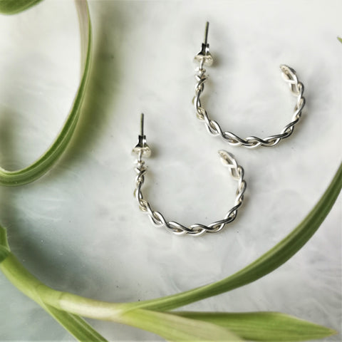 Silver Plait Hoop Earrings