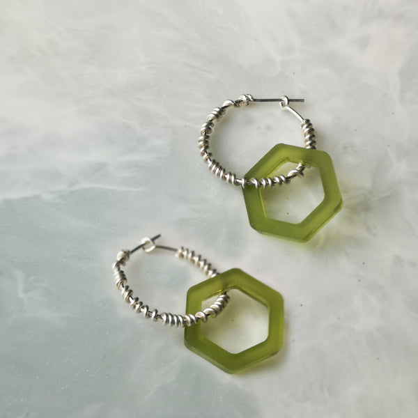Wrap Hex Hoop Earrings