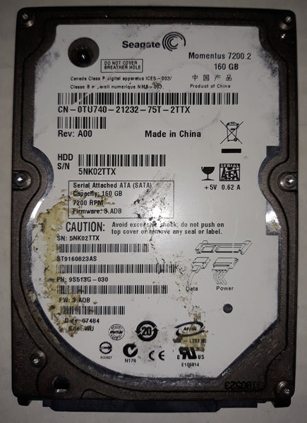 "Segate Momentus ST9160823AS 2.5"" 160GB Notebook SATA Hard Drive"