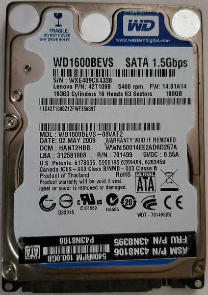 "Western Digital Blue WD1600BEVS 2.5"" 160GB Notebook SATA Hard Drive"