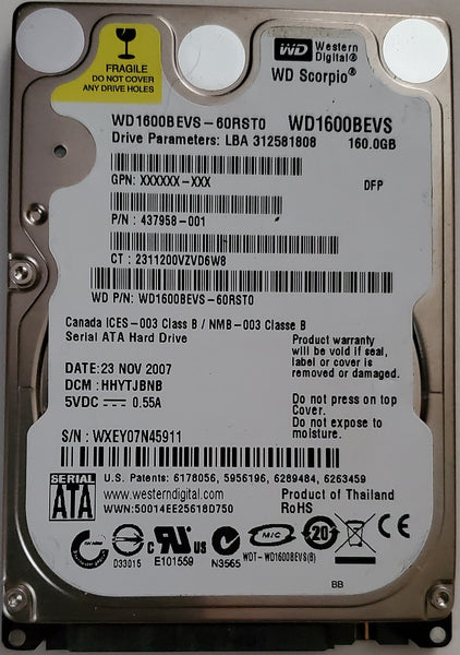 "Western Digital Scorpio WD1600BEVS 2.5"" 160GB Notebook SATA Hard Drive"