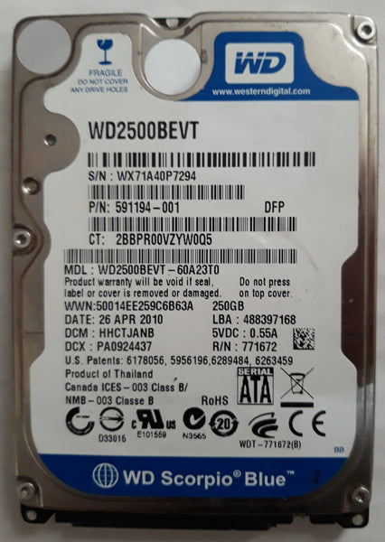 "Western Digital WD2500BEVT 2.5"" 250GB Notebook SATA Hard Drive"