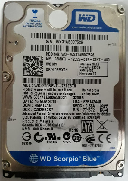 "Western Digital WD3200BPVT 2.5"" 320GB Notebook SATA Hard Drive"