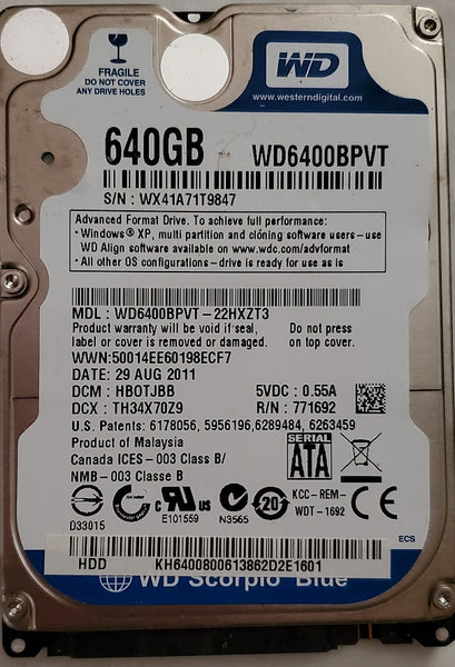 "Western Digital WD6400BPTV 2.5"" 640GB Notebook SATA Hard Drive"