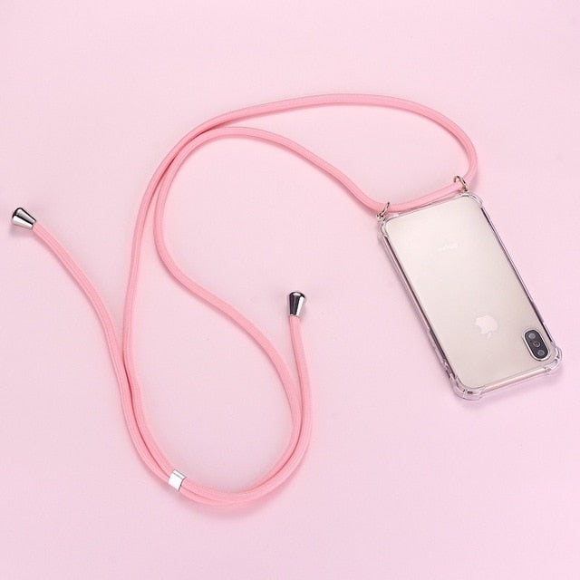 Strap Cord Chain Phone Tape Necklace Lanyard Mobile Phone Case for Carry Cover  Case Hang iPhone 12 11 Pro XS Max XR X  8Plus