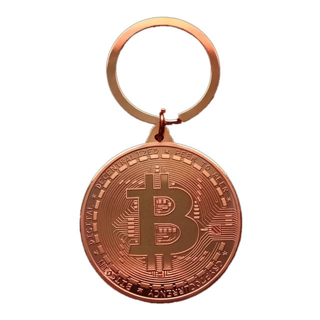 Gold Plated Bitcoin Key Chain Collectible