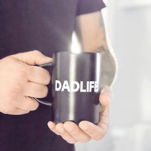 """DADLIFE"" Matte Black and White Ceramic Mug"