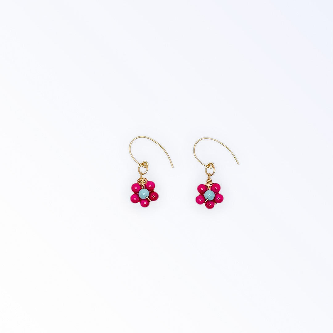 Retro Flower Earrings - Pink