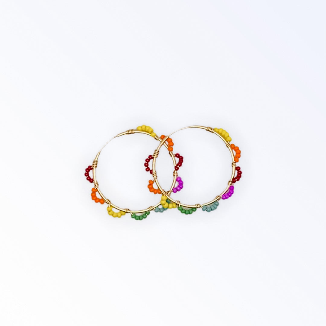 Rainbow Accent Hoops (30mm)
