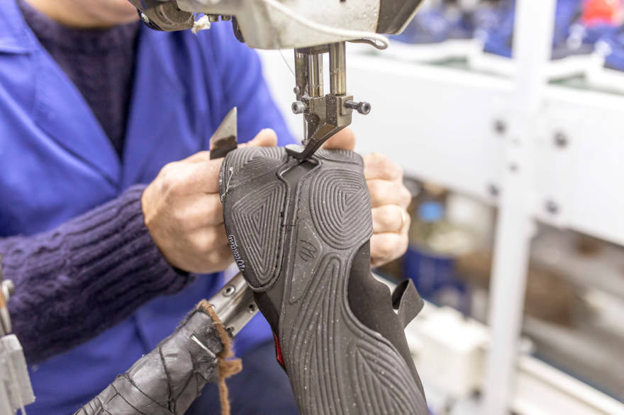 shoe being stitched together