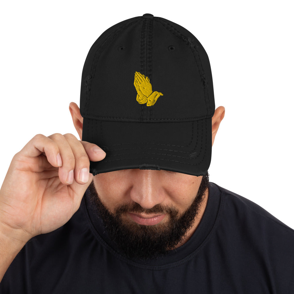 God Made Praying Hands Distressed Dad Hat