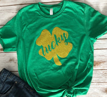 Load image into Gallery viewer, Glitter Lucky Shamrock Tee