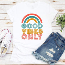 Load image into Gallery viewer, Good Vibes Only Rainbow Shirt