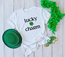 Load image into Gallery viewer, Lucky Charm Glitter Shamrock Tee