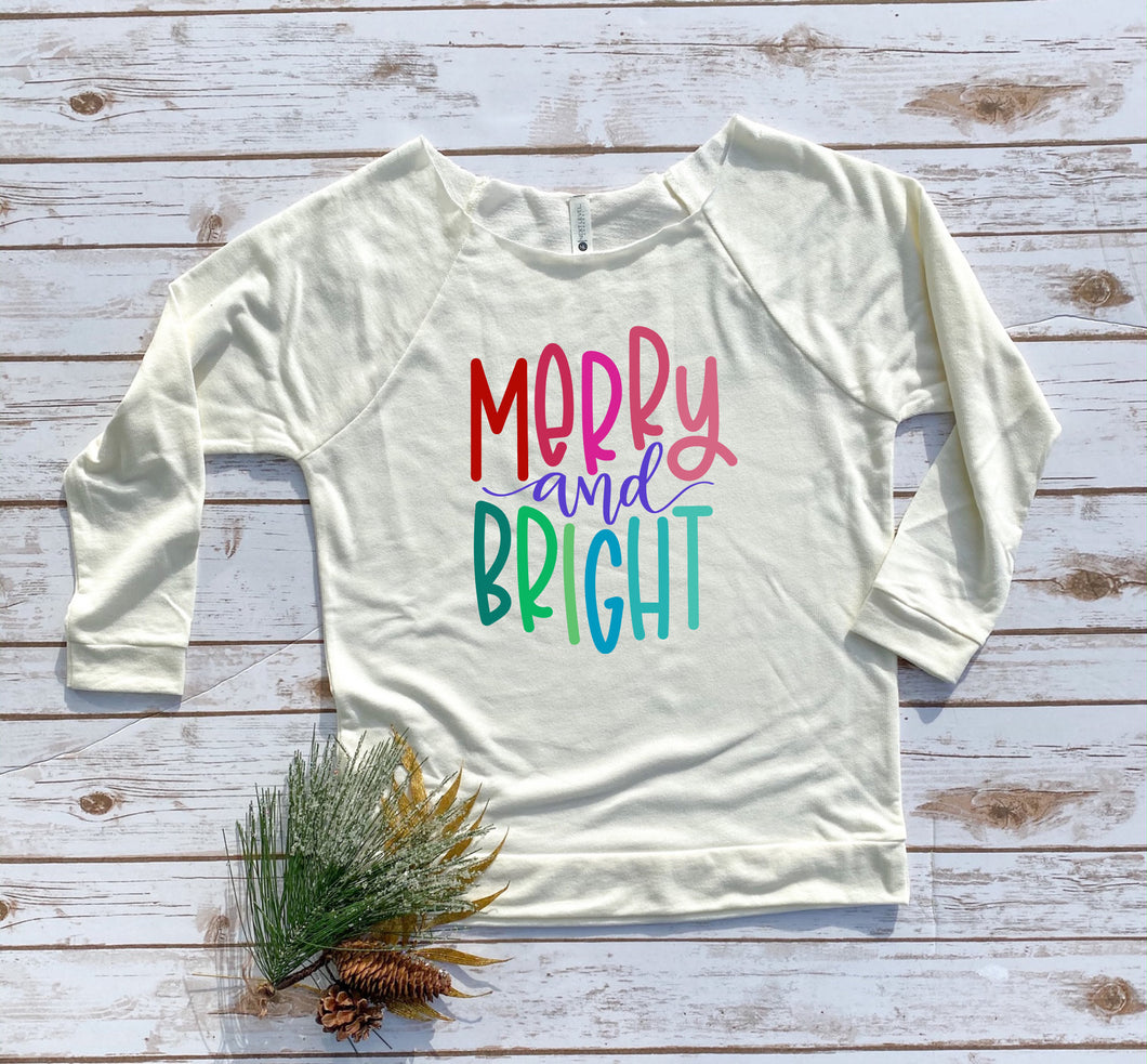 Merry And Bright Wide Neck 3/4 Sleeve Tee