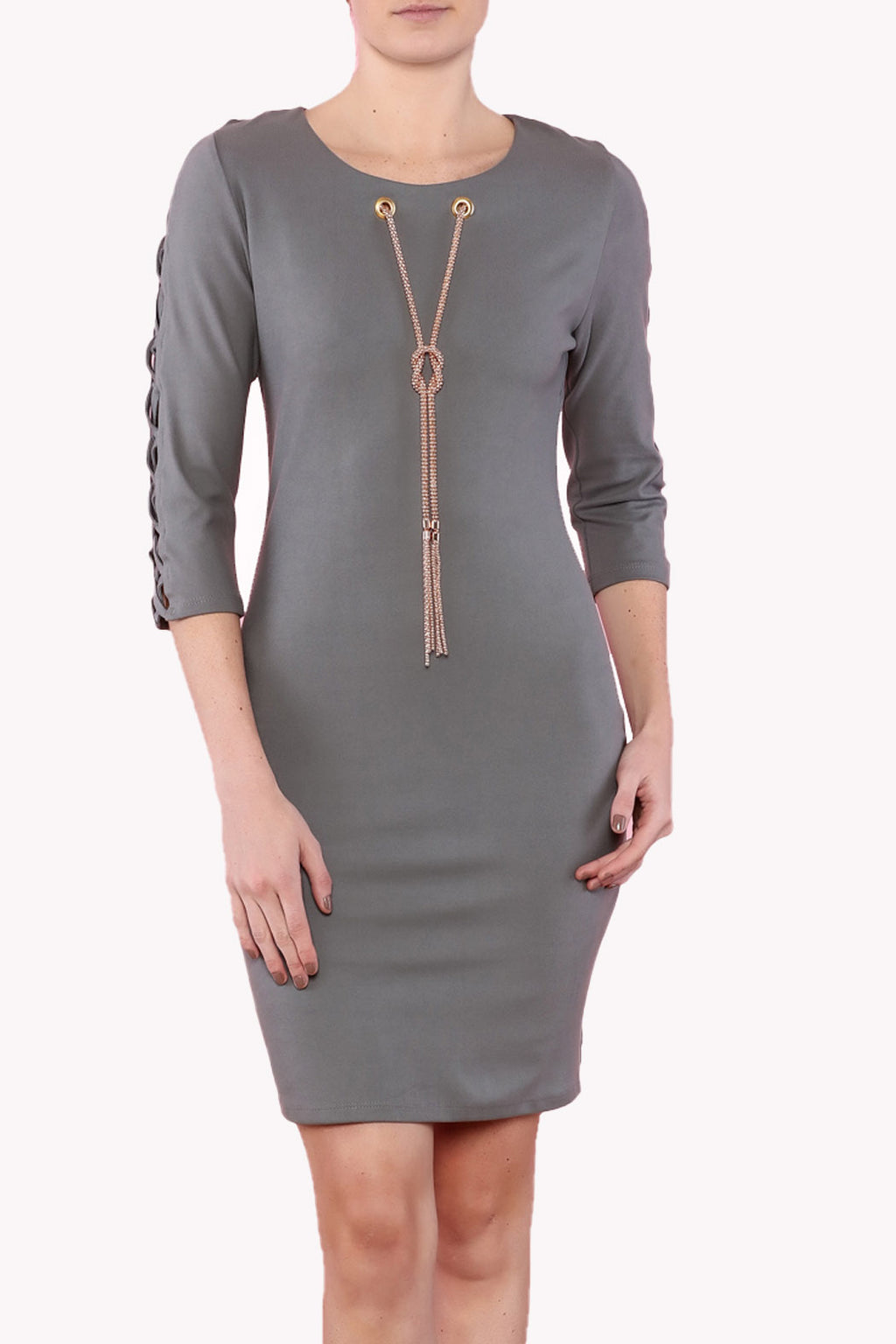 Gray Fitted dress, night out dress